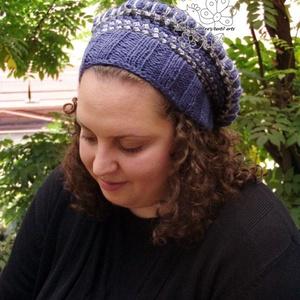Farmer kék barett sapka, horgolt bohém sapka (Hera) - Meska.hu