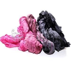 Pink és fekete hosszú sál gyűrt (Hera) - Meska.hu