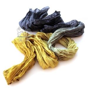 Mustár és fekete hosszú sál gyűrt (Hera) - Meska.hu