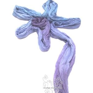 Lilás kék ombre ráncos gyűrt hernyóselyem sál (Hera) - Meska.hu