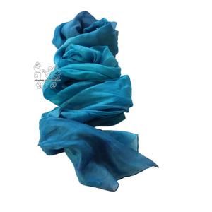 Kék óriás hernyóselyem stóla, női selyem kendő (Hera) - Meska.hu