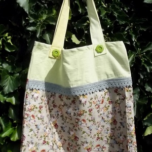 YELLOW SUMMER. Zöld virág-gombos shopper. (herisson) - Meska.hu
