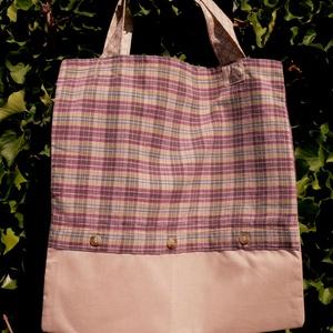 FUSION 25. Mini-shopper., Táska, Divat & Szépség, Táska, NoWaste, Bevásárló zsákok, zacskók , Varrás, Újrahasznosított alapanyagból készült termékek, Különféle vásznak és egy férfiing  kombinációja \n\naz újrahasznosítás jegyében:)\n\nMérete: 31 x 33, \n\n..., Meska