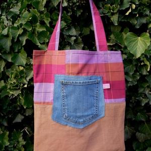 FUSION 44.  Vidám shopper., Táska & Tok, Shopper, textiltáska, szatyor, Bevásárlás & Shopper táska, Varrás, Újrahasznosított alapanyagból készült termékek, Meska