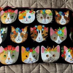 I LOVE CATS AND COLOURS. Kozmetikai táska., Táska, Divat & Szépség, Táska, Neszesszer, Gyerek & játék, Varrás, Újrahasznosított alapanyagból készült termékek, Különleges, trendi darab macskarajongóknak, \nRobert Kaufmann designer textiljéből :)\n\nMérete:  22cm ..., Meska