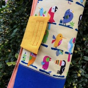 CLUB TROPICANA. Egzotikus papagájos foltvarrott ceruzatekercs., Tolltartó & Ceruzatekercs, Papír írószer, Otthon & Lakás, Varrás, Újrahasznosított alapanyagból készült termékek, 42 * 26 cm nagyságú ceruzatekercs,\n\nés a kedves rikácsoló esőerdő-lakóktól még a tanulás is öröm les..., Meska