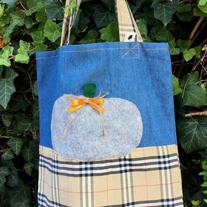 FUSION 65. - - - THE PUMPKIN. Shopper., Shopper, textiltáska, szatyor, Bevásárlás & Shopper táska, Táska & Tok, Varrás, Újrahasznosított alapanyagból készült termékek, Különféle vásznak-farmer-szövet  kombinációja \n\naz újrahasznosítás jegyében:)\n\nMérete: 36 x 35, \n\nfü..., Meska