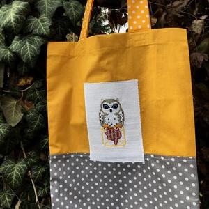 HEDWIG. Harry Potter-es shopper., Táska & Tok, Bevásárlás & Shopper táska, Shopper, textiltáska, szatyor, Hímzés, Varrás, Kedves, attraktív Hedwig-es shopper/szaladgálós, a szokásos minőségben, megerősített varrásokkal.\n\nF..., Meska