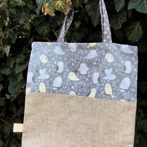 WHIMSICAL OWLS. Baglyos mini-shopper. ( választható maszkkal :), Táska & Tok, Bevásárlás & Shopper táska, Shopper, textiltáska, szatyor, Varrás, Amerikai designer textil felhasználásával készült\n\n31 x 32 cm-es pici shopper tízórainak vagy\n\n-----..., Meska