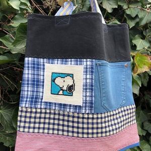 FUSION 74. SNOOPY-s shopper nemcsak fiúknak., Táska & Tok, Bevásárlás & Shopper táska, Shopper, textiltáska, szatyor, Hímzés, Újrahasznosított alapanyagból készült termékek, Meska