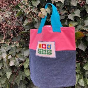 FUSION 73. Retro virágos shopper., Táska & Tok, Bevásárlás & Shopper táska, Shopper, textiltáska, szatyor, Hímzés, Újrahasznosított alapanyagból készült termékek, Meska