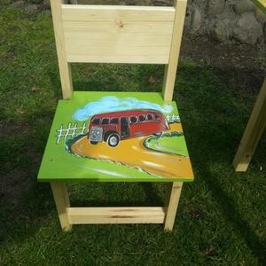 Gyerek szék, Bútor, Otthon & lakás, Asztal, Gyerek & játék, Gyerekszoba, Famegmunkálás, Festészet,  szék\n\nAz aukció tárgya  1 db szék\nFenyő alapanyagból készült egyedi festéssel .\n\n\nErős masszív időt..., Meska