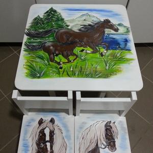 Asztal és szék, Bútor, Otthon & lakás, Asztal, Gyerek & játék, Gyerekszoba, Famegmunkálás, Festészet,    Asztal és szék\n\n                       Az aukció tárgya\n          1 db asztal és hozzá 2db szék\n\n..., Meska