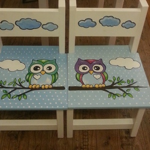 székek bagoly, Bútor, Otthon & lakás, Asztal, Gyerek & játék, Gyerekszoba, Famegmunkálás, Festészet, 2db szék\nFenyő alapanyagból készült egyedi kézi festéssel .\n\n\nErős masszív időtálló darabok! Többszö..., Meska