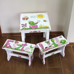 Gyerek asztalka és samli szett (hermareszdekor) - Meska.hu