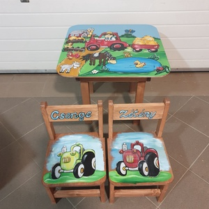 Asztal és szék, Bútor, Otthon & lakás, Asztal, Gyerek & játék, Gyerekszoba, Famegmunkálás, Festészet,  Asztal és szék\n\nAz aukció tárgya 1 db asztal és hozzá 2db szék\nFenyő alapanyagból készült egyedi ké..., Meska