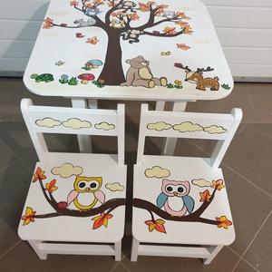 Asztal és szék, Asztal, Bútor, Otthon & Lakás, Famegmunkálás, Festészet,    Asztal és szék\n\n                       Az aukció tárgya\n          1 db asztal és hozzá 2db szék\n\n..., Meska