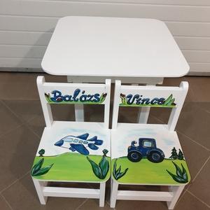 Asztal és szék járművek, Bútor, Otthon & lakás, Asztal, Gyerek & játék, Gyerekszoba, Famegmunkálás, Festészet,  Asztal és szék  \n\n\nAz aukció tárgya 1 db asztal és hozzá 2db szék\nFenyő alapanyagból készült egyedi..., Meska