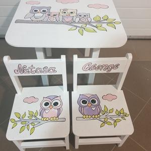 Állatos Asztal és szék, Bútor, Otthon & lakás, Asztal, Gyerek & játék, Gyerekszoba, Famegmunkálás, Festészet, Asztal és szék\n\nAz aukció tárgya 1 db asztal és hozzá 2db szék\nFenyő alapanyagból készült egyedi fes..., Meska
