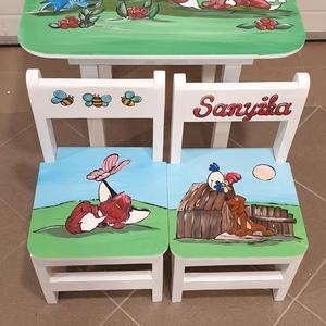 Asztal és szék, Asztal, Bútor, Otthon & Lakás, Famegmunkálás, Festészet,  Asztal és szék\n\nAz aukció tárgya 1 db asztal és hozzá 2db szék\nFenyő alapanyagból készült egyedi ké..., Meska
