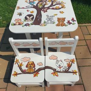 Asztal és szék, Asztal, Bútor, Otthon & Lakás, Famegmunkálás, Festészet,  Asztal és szék\n\nAz aukció tárgya 1 db asztal és hozzá 2db szék\nFenyő alapanyagból készült egyedi fe..., Meska
