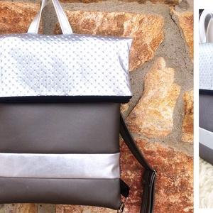 Ezüstüs - szürke, lehajtható fedeles hátizsák, textilbőr pántokkal - AKCIÓS (hetenyieva) - Meska.hu