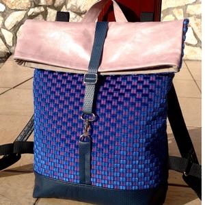 Kék- rose- mintás hátitáska- valódi bőrrel , Táska & Tok, Hátizsák, Hátizsák, Kék marhabőrrel, illetve kék- rose mintás olasz vastag bútorvászonnal készült  a táska eleje, háta s..., Meska