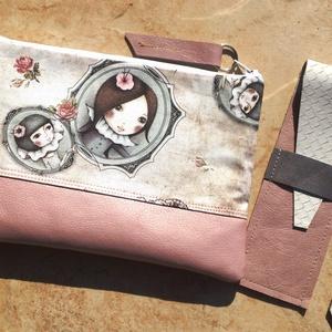 Rose-pasztell neszeszer + rose-fehér tolltartó valódi bőrrel , Táska & Tok, Neszesszer, Gyöngyház rose textilbőr, és pasztell mintás designer textil kombinálásából készült neszeszer, háta ..., Meska