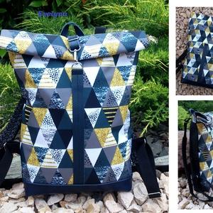 Ezüstös szürke-kék-zöld hátitáska- valódi bőrrel - vízálló - laptop táska (hetenyieva) - Meska.hu
