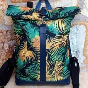 Kék, aranybarna-zöld mintás hátitáska, vízálló- valódi bőrrel -laptoptáska nagyobb méretben (hetenyieva) - Meska.hu