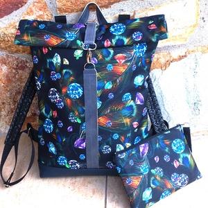 Türkizkék- kék - fekete hátitáska, nagyobb méret- laptop táska valódi bőrrel+neszi/tolltartó, Táska & Tok, Hátizsák, Roll top hátizsák, Varrás, Kék marhabőrrel, illetve fekete alapon kék-türkizkék, lila, bronzos tollmintás vízálló - erős, gyöng..., Meska