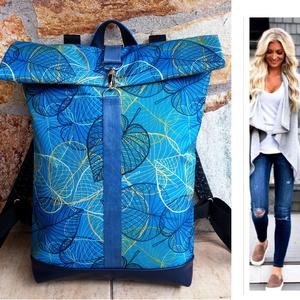 Türkizkék- kék-mintás hátitáska- valódi bőrrel - vízálló - laptoptáska - nagy méret, Táska & Tok, Hátizsák, Roll top hátizsák, Sötétkék marhabőrrel illetve türkizkék, levélmintás vízlepergető gyöngyvászonnal készült  a táska el..., Meska