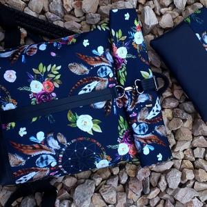 Sötétkék- toll mintás hátitáska - valódi bőrrel - vízálló - laptoptáska+ neszivel szettben - Meska.hu