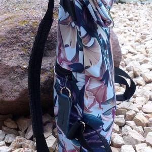 Kék-rose mintás hátitáska, vízálló - valódi bőrrel, neszivel szettben - Meska.hu