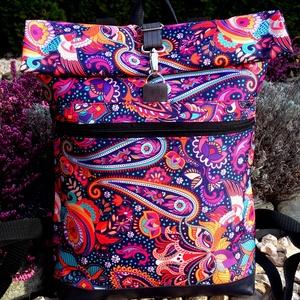 Kék-bordó- narancs hátitáska- valódi bőrrel - vízálló - laptoptáska/nagy méret/első és hátsó zsebes, Táska & Tok, Hátizsák, Roll top hátizsák, Sötétkék marhabőrrel, illetve sötétkék alapon bordó, narancs paisley mintás vízálló szövettel készül..., Meska