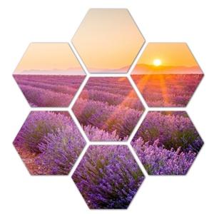Levendula mező, naplemente 7 db panelből álló HexArt falikép, faldekoráció, Otthon & Lakás, Dekoráció, Kép & Falikép, Fotó, grafika, rajz, illusztráció, Ingyenes szállítás!\nHexArt faliképek, Újdonság a faldekorációk világában. Az 1 cm vastag rétegelt ny..., Meska