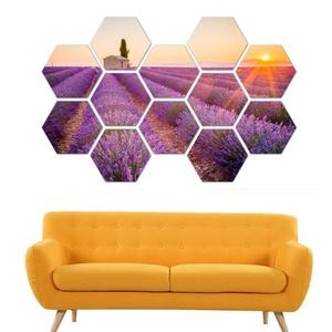 Levendula mező, naplemente 12 db panelből álló HexArt falikép, faldekoráció, Otthon & Lakás, Dekoráció, Kép & Falikép, Fotó, grafika, rajz, illusztráció, Ingyenes szállítás!\nHexArt faliképek, Újdonság a faldekorációk világában. Az 1 cm vastag rétegelt ny..., Meska