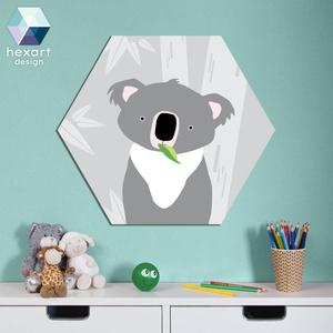 Koala - babaszoba dekoráció, fali kép, Falra akasztható dekor, Dekoráció, Otthon & Lakás, Fotó, grafika, rajz, illusztráció, Hexart Design - Az okos dekoráció\nNincs szükség keretre / Kasírozott habkarton / Egy mozdulattal fel..., Meska
