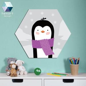 Pingvin - babaszoba dekoráció, Gyerek & játék, Gyerekszoba, Baba falikép, Fotó, grafika, rajz, illusztráció, Hexart Design - Az okos dekoráció\nNincs szükség keretre / Kasírozott habkarton / Egy mozdulattal fel..., Meska