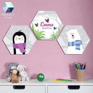 3 db-os kislány babaszoba dekoráció, fali kép névtáblával - választható állatokkal, Játék & Gyerek, Babalátogató ajándékcsomag, Fotó, grafika, rajz, illusztráció, Hexart Design - Az okos dekoráció\nNincs szükség keretre / Kasírozott habkarton / Egy mozdulattal fel..., Meska
