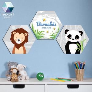 3 db-os kisfiú babaszoba dekoráció névtáblával - választható állatokkal, Gyerek & játék, Gyerekszoba, Baba falikép, Fotó, grafika, rajz, illusztráció, Hexart Design - Az okos dekoráció\nNincs szükség keretre / Kasírozott habkarton / Egy mozdulattal fel..., Meska