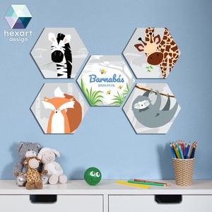 5 db-os kisfiú babaszoba dekoráció, fali kép névtáblával - választható állatokkal, Játék & Gyerek, Babalátogató ajándékcsomag, Fotó, grafika, rajz, illusztráció, Hexart Design - Az okos dekoráció\nNincs szükség keretre / Kasírozott habkarton / Egy mozdulattal fel..., Meska