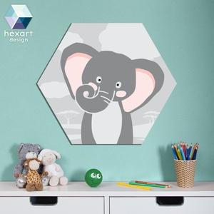 Elefánt - babaszoba dekoráció, fali kép, Falra akasztható dekor, Dekoráció, Otthon & Lakás, Fotó, grafika, rajz, illusztráció, Hexart Design - Az okos dekoráció\nNincs szükség keretre / Kasírozott habkarton / Egy mozdulattal fel..., Meska