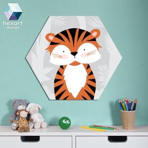 Tigris - babaszoba dekoráció, fali kép, Falra akasztható dekor, Dekoráció, Otthon & Lakás, Fotó, grafika, rajz, illusztráció, Hexart Design - Az okos dekoráció\nNincs szükség keretre / Kasírozott habkarton / Egy mozdulattal fel..., Meska