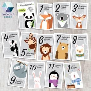 Babakártyák - egyedi megérkeztem kártyával, Gyerek & játék, Baba-mama kellék, Gyerekszoba, Fotó, grafika, rajz, illusztráció, Egyedi babakártya, milestone, méföldkő, fotókártya\n\nDokumentáld babád első évét, ezekkel a kedves ál..., Meska