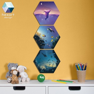 3 db-os gyerekszoba dekoráció - Az óceán világa, Gyerek & játék, Gyerekszoba, Baba falikép, Fotó, grafika, rajz, illusztráció, Hexart Design - Az okos dekoráció\nNincs szükség keretre / Kasírozott habkarton / Egy mozdulattal fel..., Meska