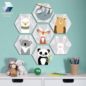 7 db-os babaszoba dekoráció, fali kép - választható állatokkal, Játék & Gyerek, Babalátogató ajándékcsomag, Fotó, grafika, rajz, illusztráció, Hexart Design - Az okos dekoráció\nNincs szükség keretre / Kasírozott habkarton / Egy mozdulattal fel..., Meska