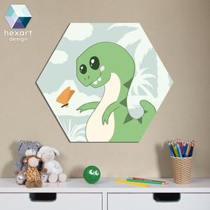 Rexi, a T-Rex dinó kölyök - babaszoba dekoráció, Falra akasztható dekor, Dekoráció, Otthon & Lakás, Fotó, grafika, rajz, illusztráció, Hexart Design - Az okos dekoráció\nNincs szükség keretre / Kasírozott habkarton / Egy mozdulattal fel..., Meska