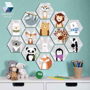 14 db-os babaszoba dekoráció, fali kép - választható állatokkal, Falra akasztható dekor, Dekoráció, Otthon & Lakás, Fotó, grafika, rajz, illusztráció, Hexart Design - Az okos dekoráció\nNincs szükség keretre / Kasírozott habkarton / Egy mozdulattal fel..., Meska