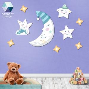 Alvó Hold huncut csillagokkal - babaszoba dekoráció (9 elemes csomag), Falra akasztható dekor, Dekoráció, Otthon & Lakás, Fotó, grafika, rajz, illusztráció, Hexart Design - Az okos dekoráció\nNincs szükség keretre / Kasírozott dekorgumi / Egy mozdulattal fel..., Meska